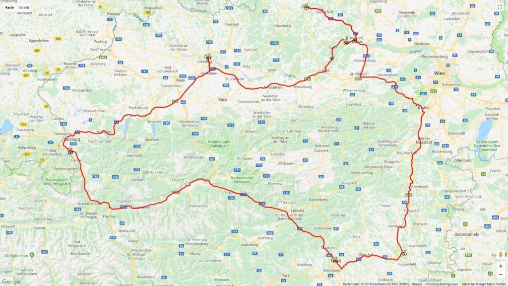Reiseroute Österreich